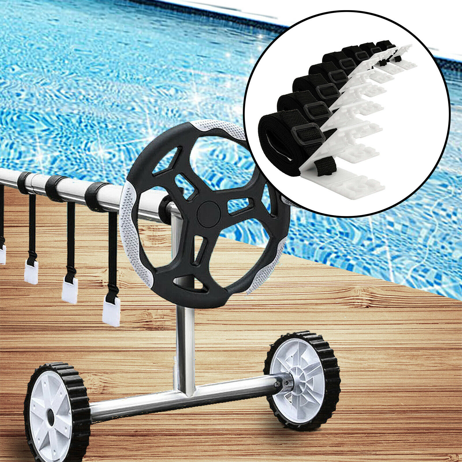 Pool Solar Cover Reel Attachment Kit for In Ground Swimming Pool