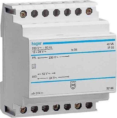 Hager ST312 Sicherheitstrafo 12V/2,08A o. 24V/1,04A