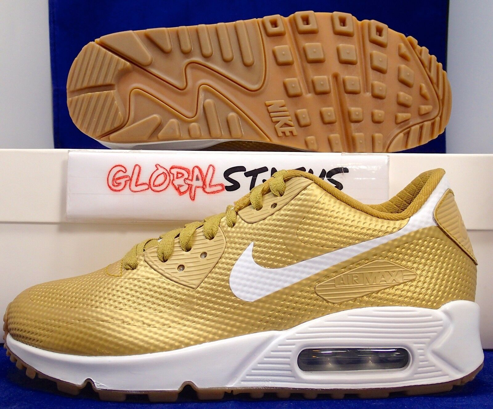 WOMENS NIKE ID AIR MAX 90 SHOES HYPERFUSE METALLIC LIQUID GOLD SHOES 90 822578 997 SZ 5.5 ca1ddc