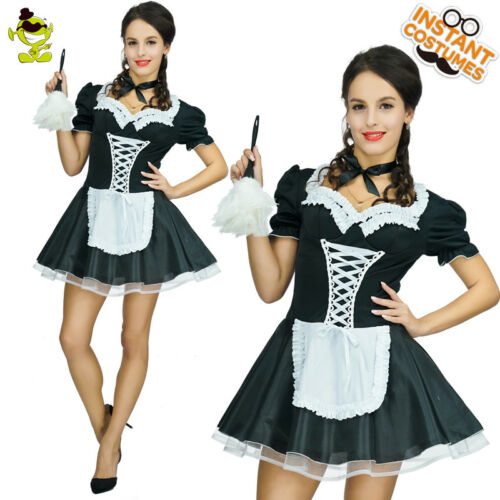 Women Maid Costume Fancy French Maid Lace Dress Funny Christmas Cosplay Costume