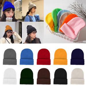 Cuff-Beanie-Plain-Knit-Hat-Winter-Warm-Cap-Slouchy-Skull-Ski-Hats-Men-Women-Warm