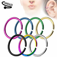 Seamless Nose Ring Bendable Steel Nose Hoop 20g 18g 16g Black Gold Multi