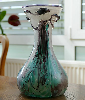 Kunstglas Vase Mit Fadenauflage - Irisierende Farben - Sammlerstück 1,49 Kg !!!
