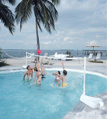"Aqua Volley Swimming Pool Volleyball Set w// 24/"" Long Net /& Sturdy 48/"" Posts"