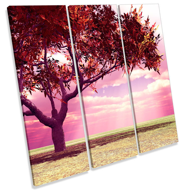 Autumn Tree Landscapes Scene TREBLE CANVAS WALL ART Square Picture Print