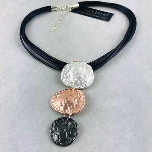 fa36547168331 Details about UK Ladies Designer Black Necklace Silver Rose Gold Tri  Pendants Jewellery Gift