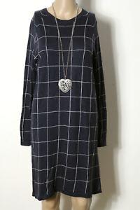 MANGO-Kleid-Gr-M-blau-weiss-knielang-Langarm-Karo-Feinstrick-Kleid