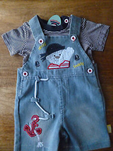 3-6 Months NEW Tu 2-Piece Baby Boys WINNIE THE POOH Cotton Dungaree Set