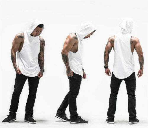 Gyms Clothing Fitness Men Tank Top with hooded Mens Workout Sleeveless
