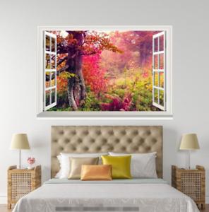 3D Maple Red 4058 Open Windows Mural Wall Print Decal Deco AJ Wallpaper Summer