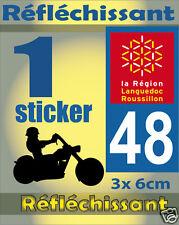 1 Sticker REFLECHISSANT département 48 rétro-réfléchissant immatriculation MOTO