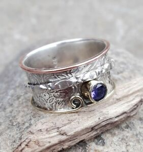 Amethyst-925-Sterling-Silver-Spinner-Ring-Meditation-ring-statement-ring-Size
