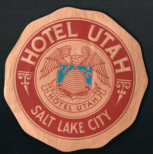 Hotel Utah Salt Lake City UTAH ~ Vintage Luggaage Label ~ Beehive Design