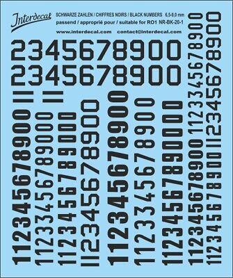 Schwarze Zahlen Decal für R01 11 mm Naßschiebebild Startnummern NR-BK-22-3