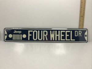 Jeep Four Wheel Dr Embossed Street Sign (Garage Décor)