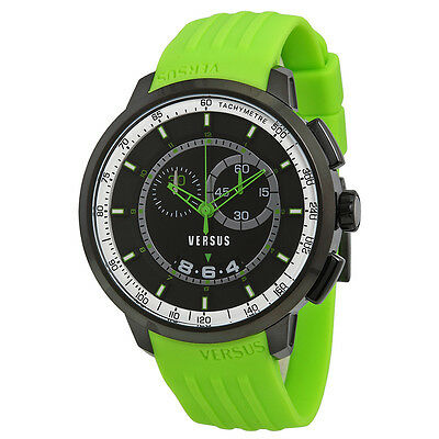 Versus by Versace Manhattan Chronograph Black and White Dial Green Rubber Mens