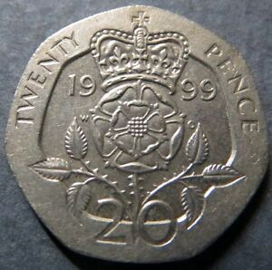 1999-U-K-20-PENCE-COIN-Pre-EURO-Mint-Very-Fine-Circulated-Nice-Coin