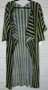 Lularoe-Donna-SHIRLEY-BLACK-amp-GOLD-Kimono-A-Righe-Taglia-M-Nuovo-con-etichette