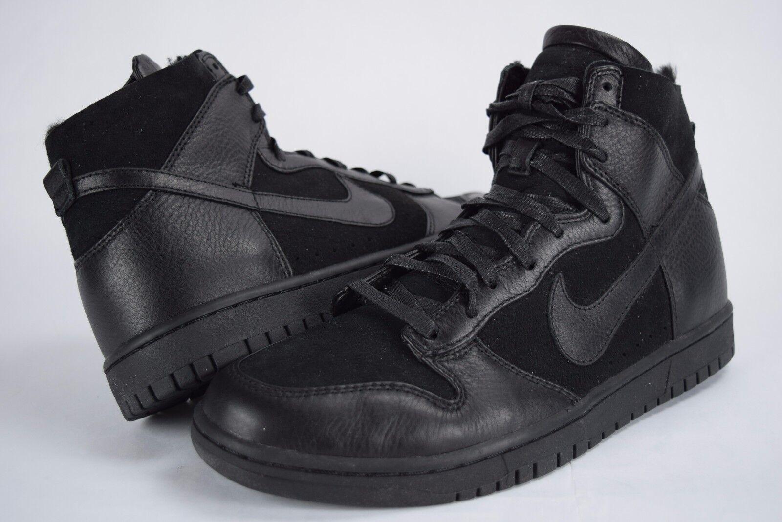 New 175 Mens Nike Dunk LUX SP Sherpa 744301 001 Nikelab Black FUR sz 10.5-11