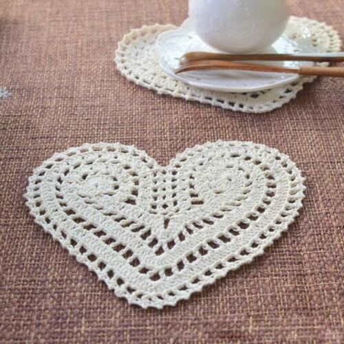 4Pcs//Lot Vintage Hand Crochet Cotton Lace Doilies Heart Shape Place Mats 20x15cm