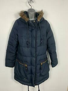 WOMENS-TOM-JOULES-BLUE-CASUAL-WINTER-HOOD-DOWN-PADDED-RAIN-COAT-JACKET-SIZE-12
