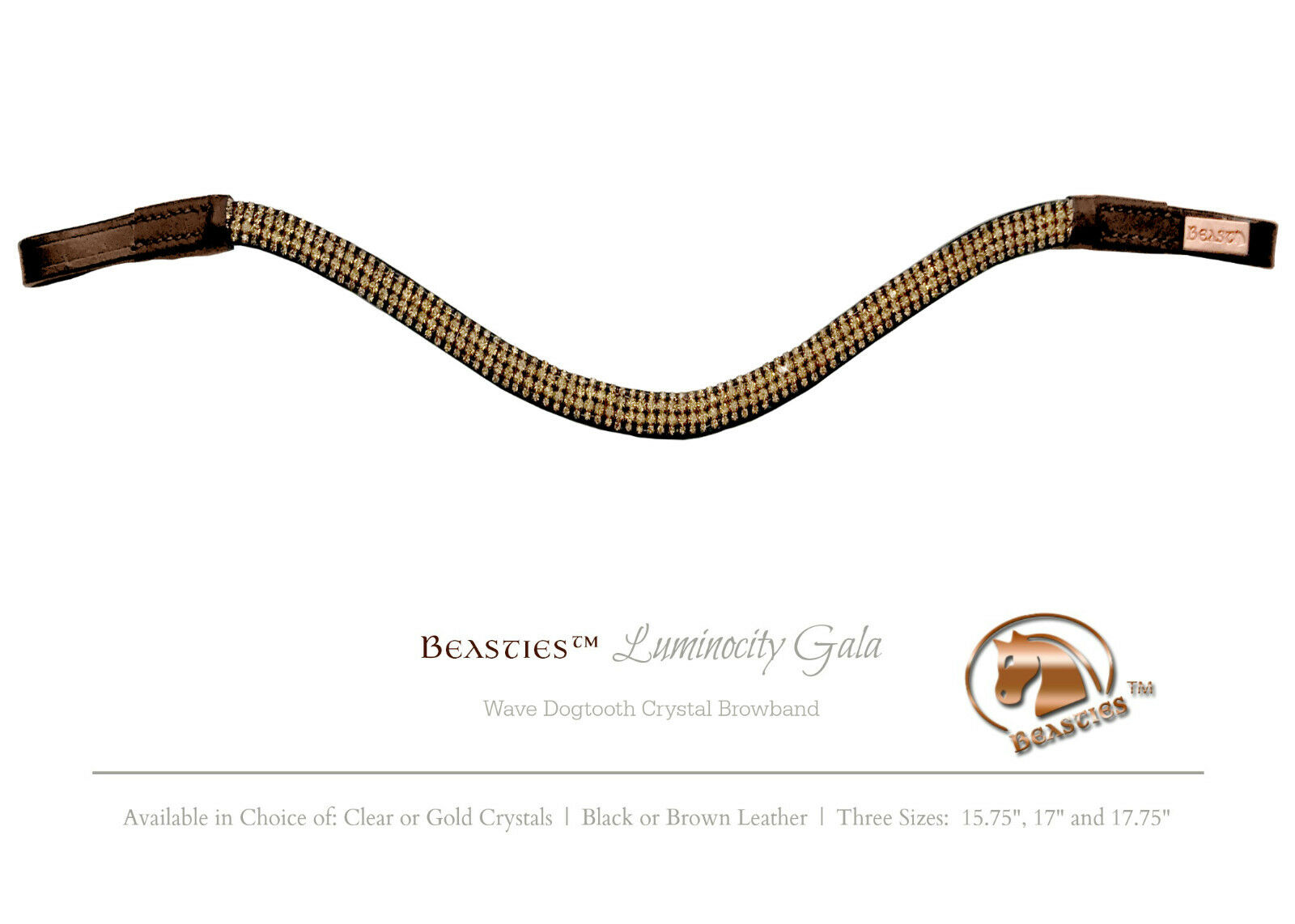 gold Brown Luminocity Wave Crystal Dressage Browband Size  X-Full 17.75