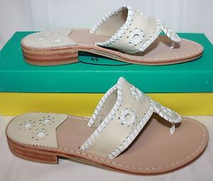 c5e75b2a2324 Jack Rogers Palm Beach Navajo Women s Sandals Bone White New With ...