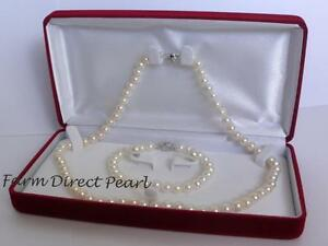 Genuine-7mm-White-Pearl-Necklace-Bracelet-Earrings-3pc-SET-Cultured-Freshwater