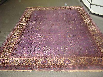 Antique Turkish Sivas Allover Purple Lavander Rug 8'10 x 12'3 Hand Knotted Wool