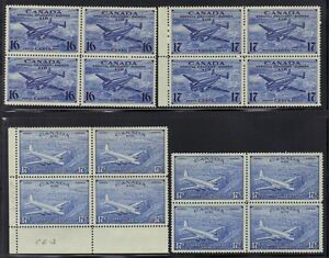 CANADA 1942 AIR MAIL SPECIAL DEIVERY BLOCKS OF 4 CE1-CE4 NEVER HINGED
