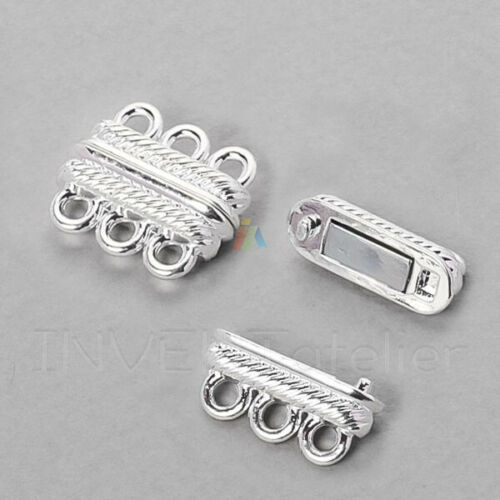 2 3 STRAND MAGNETIC CLASP Jewellery Findings  SILVER PLATED Bracelet Making 341