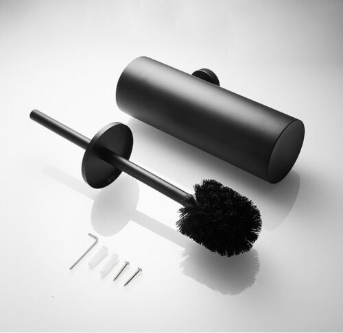 Matte Black Toilet Brush Set Cleaning Cup W// Base Installation Wall Mount SUS304