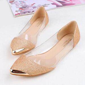 New Women Fashion Flats Ballerina Slippers Casual Slip On Shoes Faux Leather