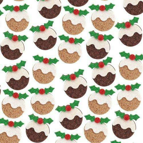 10 X Pegatinas de espuma de Brillo-Navidad Postres