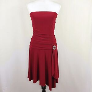 Guess-Jeans-Women-Medium-Red-Strapless-Drape-Brooch-Formal-Prom-Party-Dress