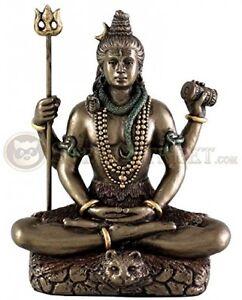Hindu God Lord Shiva In Meditation Bronze Finish Figurine Sculpture Statue