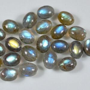 6x8 mm Oval Labradorite Cabochon Loose Gemstone Wholesale Lot 20 pcs