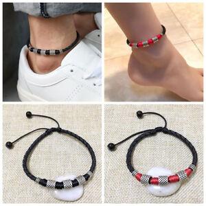 Frauen Männer Leder Seil Fußkettchen Knöchel Armband Barfuß Strand Fußkette