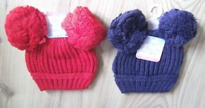 cf5180f292b Baby Knitted DOUBLE BOBBLE POM POM HAT Red Navy Blue Boy ...