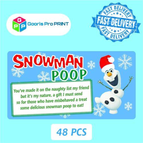 48x Christmas SNOWMAN POOP Poem Sticker Business Xmas Label Fun Gift Seal   X40
