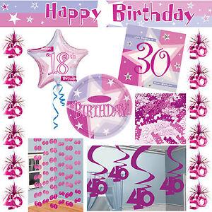 geburtstag zahl 18 30 40 50 60 pink party deko set girlanden tisch dekoration ebay. Black Bedroom Furniture Sets. Home Design Ideas