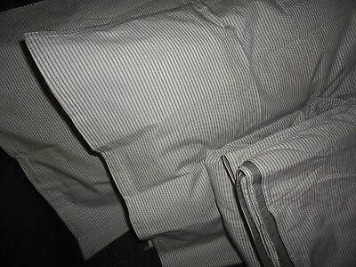 IKEA BLAVINDA GRAY & WHITE PINSTRIPE (3PC) BUTTON UP KING DUVET SHAMS
