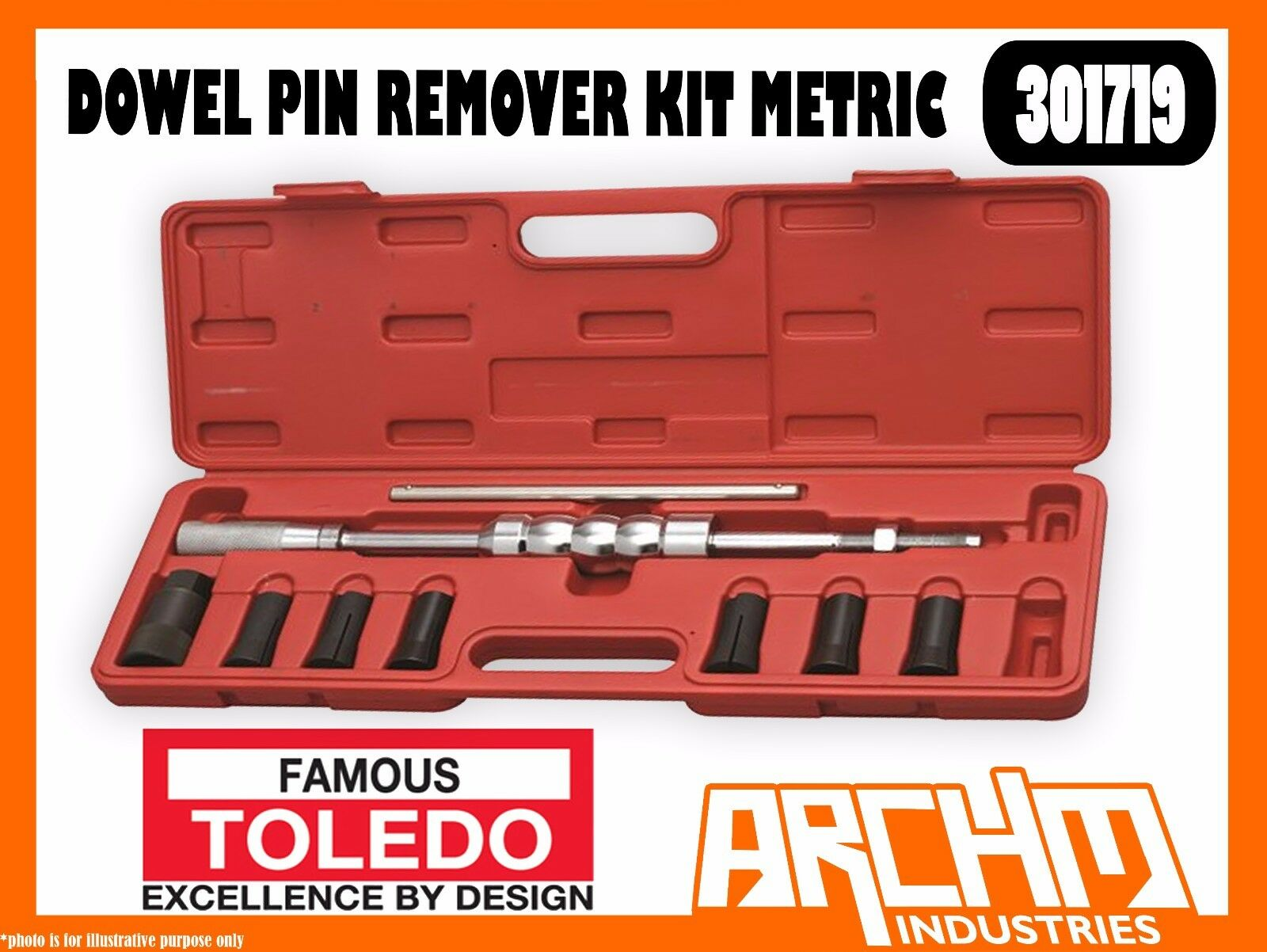 TOLEDO 301719 - DOWEL PIN REMOVER KIT METRIC - REMOVE WORN DAMAGED ALIGNMENT