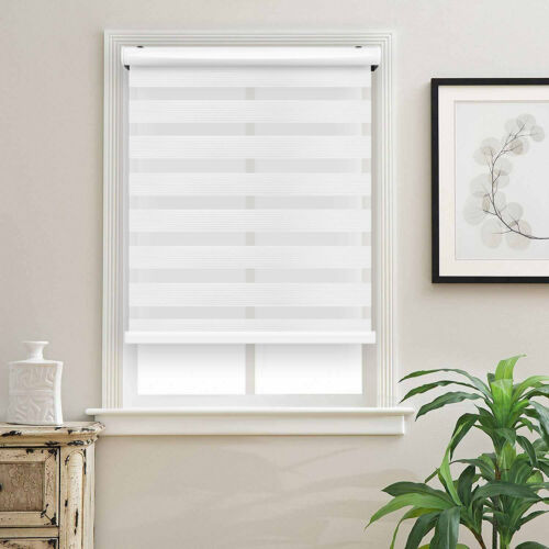 """Cordless Zebra Roller Blinds Sheer Shades 48/""""W X 72/""""H Sheer or Privacy White"""