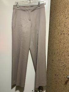 NWOT St. John  Stretch Wool Cropped  Dress Straight Pants In Beige Sz 2, $495