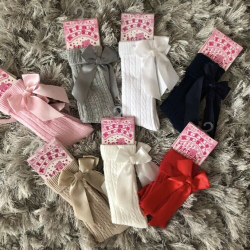 3-6 years red camel grey pink Spanish knee high ribbed Girls bow socks 0-3 M