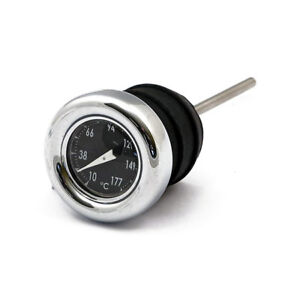 Ölmessstab Thermometer Chrom schwarz f. Harley Davidson Softail 84-99 & XL 82-03