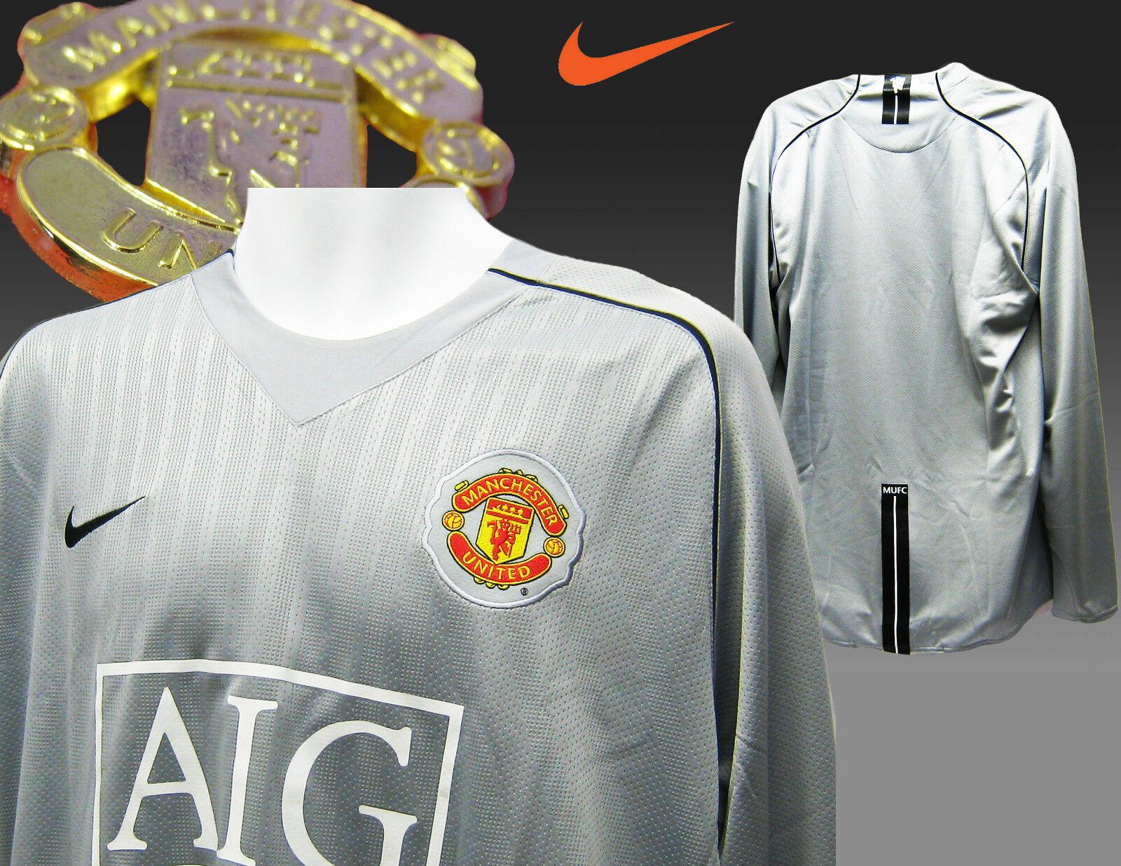 Manchester United Football Club Spieler Ausgabe Gk Torhüter Shirt Silber Grau XL