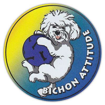 "my Bichon pawprint magnet 6/"" waterproof dog heart I"