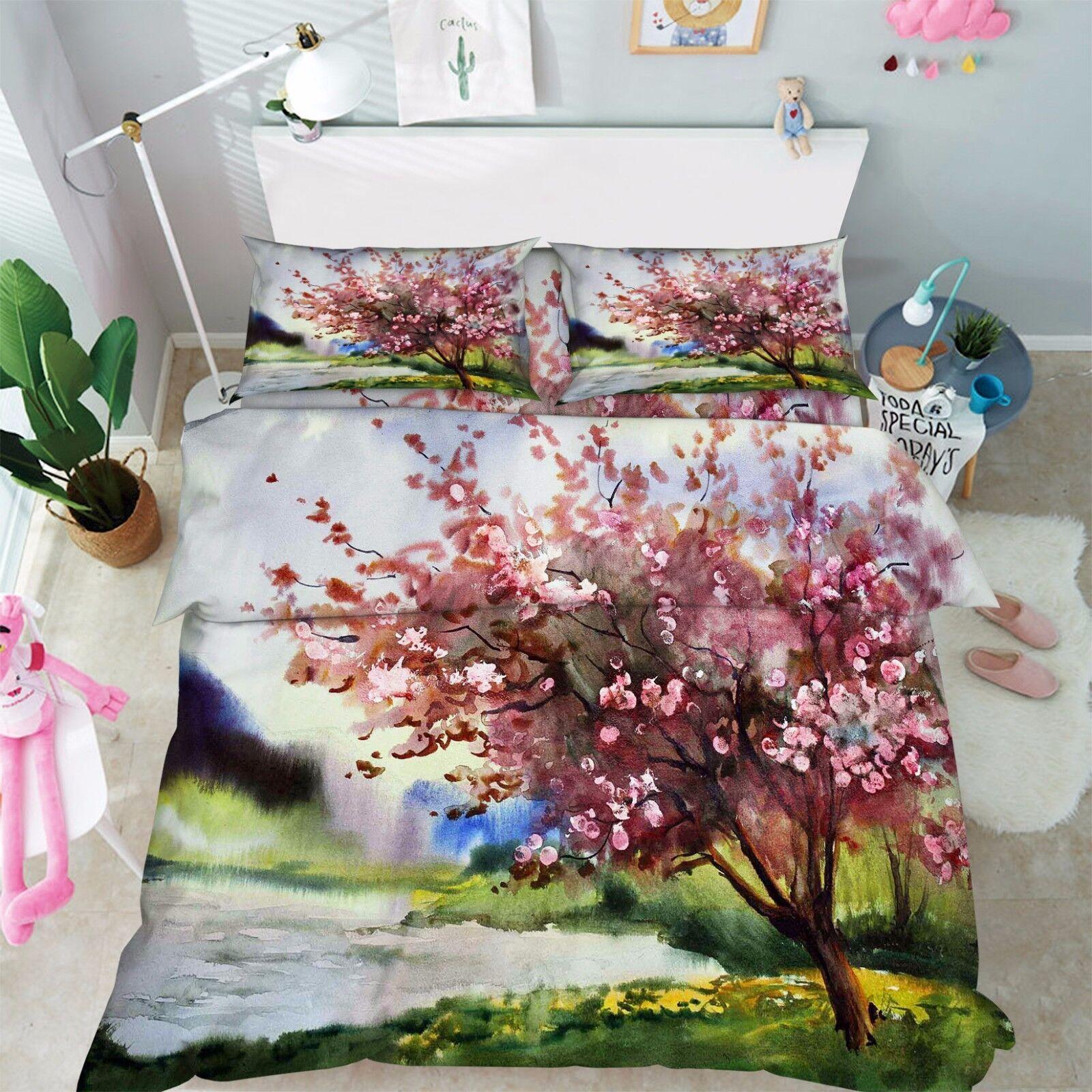 3D Blaumenbaum 807 Bett Kissenbezüge steppen Duvet Decken Set Single DE Kyra